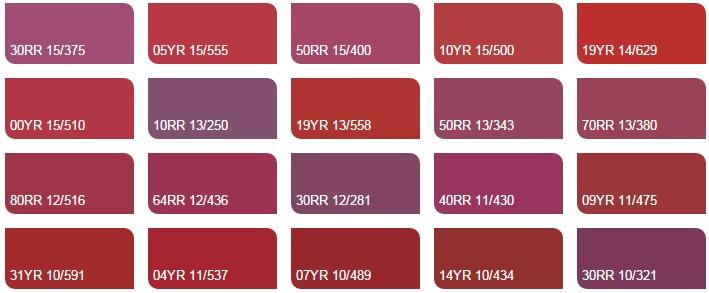 Các màu đỏ và hồng 5 - Bảng màu sơn Dulux| Quạt màu sơn Dulux