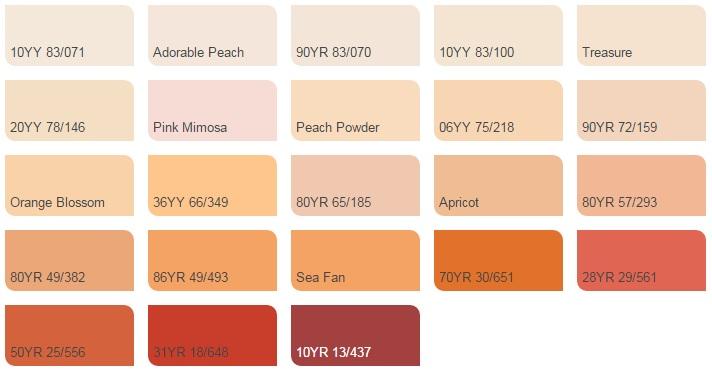 Các màu cam - Bảng màu sơn Dulux| Quạt màu sơn Dulux