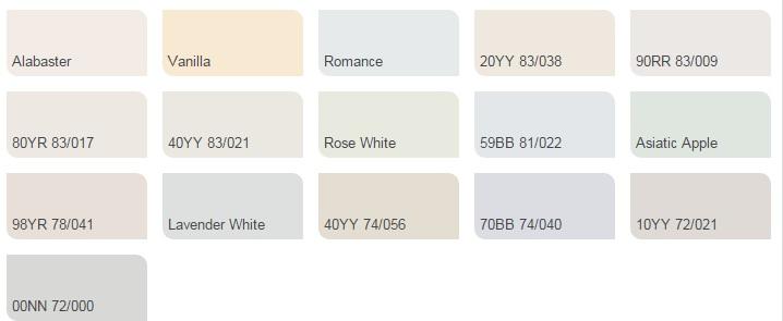 Các màu trắng nhạt - Bảng màu sơn Dulux| Quạt màu sơn Dulux