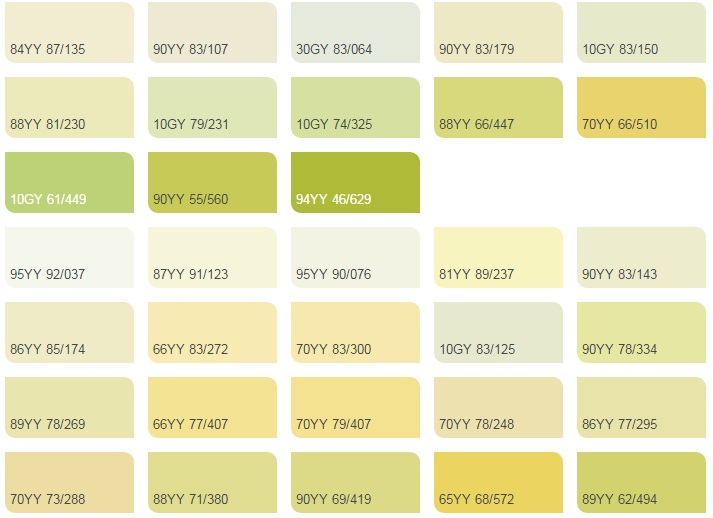 Các màu vàng chanh - Bảng màu sơn Dulux| Quạt màu sơn Dulux