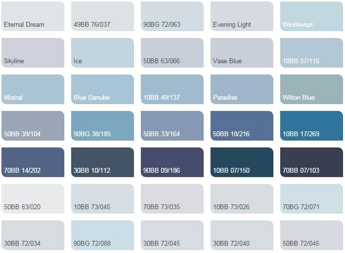 Các màu xanh da trời nhạt - Bảng màu sơn Dulux| Quạt màu sơn Dulux