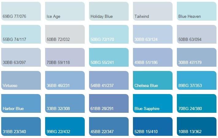 Các màu xanh da trời - Bảng màu sơn Dulux| Quạt màu sơn Dulux