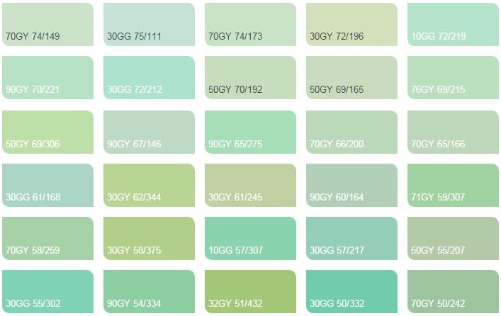 Các màu xanh lá 2 - Bảng màu sơn Dulux| Quạt màu sơn Dulux