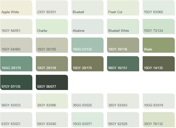 Các màu xanh lá nhạt - Bảng màu sơn Dulux| Quạt màu sơn Dulux