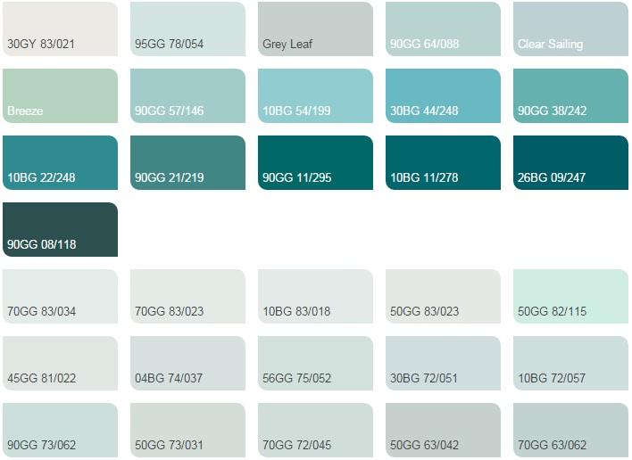 Các màu xanh mòng két nhạt - Bảng màu sơn Dulux| Quạt màu sơn Dulux