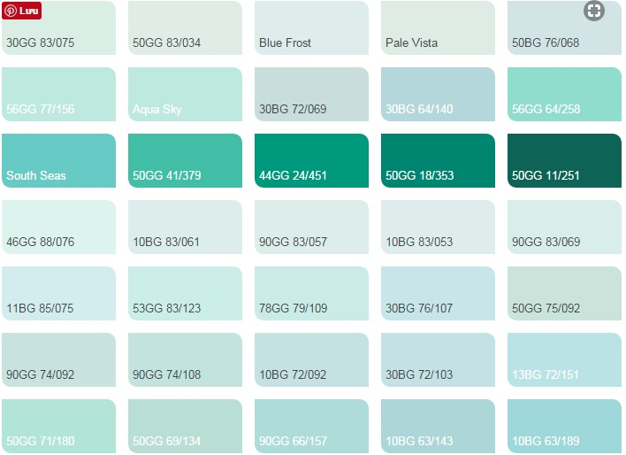 Các màu xanh mòng két - Bảng màu sơn Dulux| Quạt màu sơn Dulux