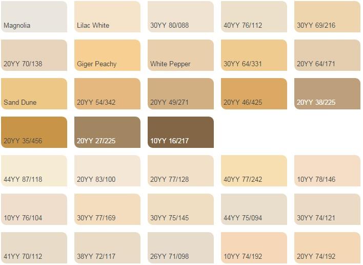 Vàng ánh kim nhạt - Bảng màu sơn Dulux| Quạt màu sơn Dulux